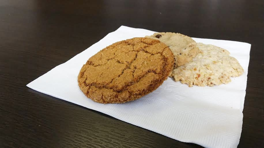 Bakeshop doesn't normally have it's entire vegan menu ready for sale, but it usually has three or four vegan options available. Out of the three cookies in the photo above – (l to r) the gingersnap, the chocolate chip and the salty oat apricot – the salty oat apricot is the most unique and the most engaging. (Photo: News-Press)