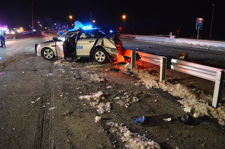 Two Virginia State Police troopers were injured in separate traffic accidents less than 12 hours apart today. The image above from the first crash at around 3:30 a.m. this morning shows the state trooper's vehicle, with the overturned SUV that crashed into it right behind it. (Photo: Virginia State Police)
