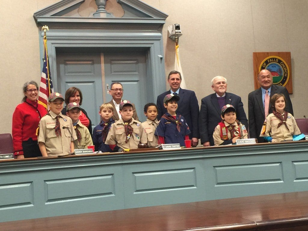 AT MONDAY'S  meeting , members of the Falls Church City Council posed with Boy Scout Troop 1537 prior to getting an update on new real estate assessments. (Photo: News-Press)