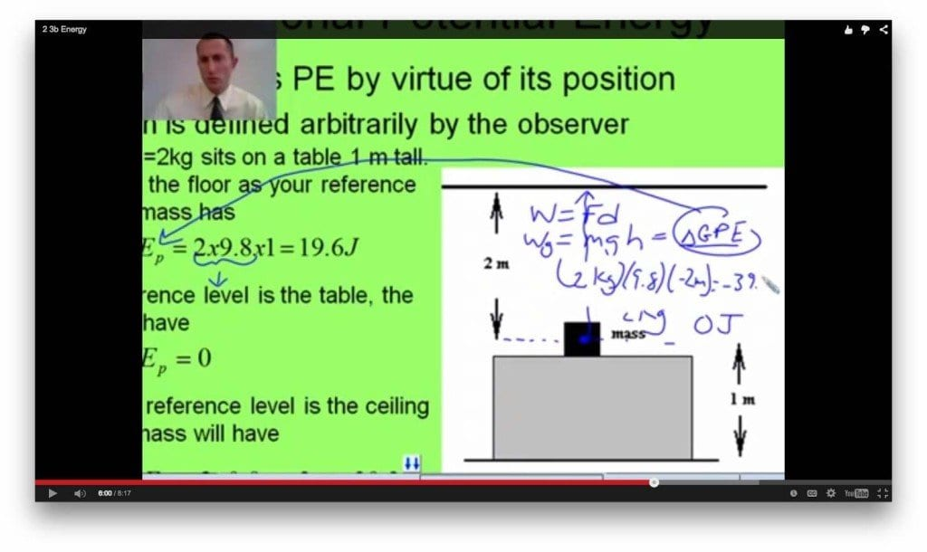"""Bryan Harris, who teaches IB Physics, presents the concept of energy in a YouTube video for students to watch at home. This constitutes the flipped classroom that started three years ago for IB Physics. """"The benefit now is that we can spend pretty much all class doing labs or practice problems,"""" said Harris. . (Photo: Dorian Charpentier)"""