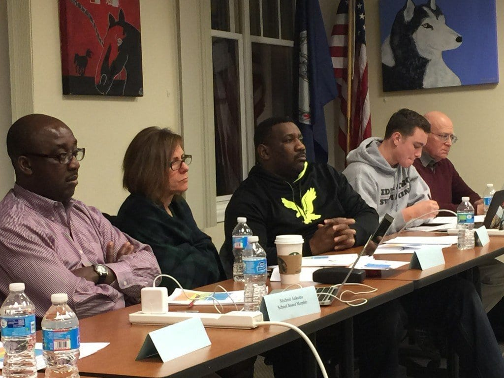 SOME MEMBERS OF the Falls Church School Board are shown here at Tuesday night's work session. (Photo: News-Press)