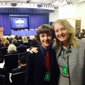 Colter Adams and his mother, Jennifer Tabola, at the Champions of Change conference at the White House on Monday, which honored national leaders working to advance climate literacy in schools, museums and libraries. Colter spoke on a youth panel on climate change. (Courtesy Photo)