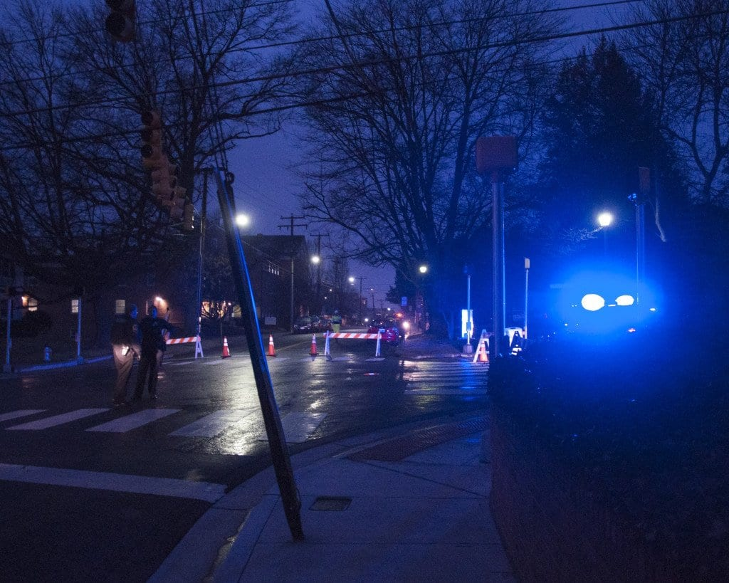 The Falls Church Police Department shut down two blocks of Little Falls Street and Park Avenue, which surround City Hall and the community center, while the investigation was taking place.  (News-Press photo)