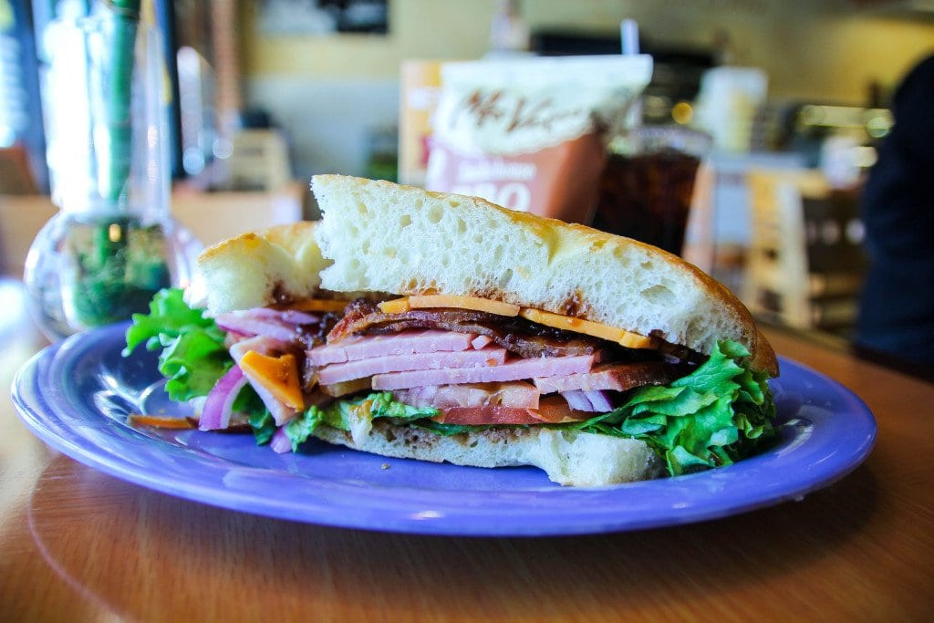 The Smoke Stacker puts Honeybaked ham together with cheddar cheese, honey-spiced bacon and barbecue sauce on fresh pan bread. (Photo: News-Press)