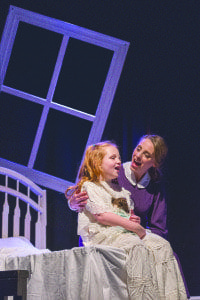 Susan Derry as Miss Giddens sings with Libby Brooke, who plays Flora Bly.The play, a musical adaptation of Henry James' novella by the same name, tells the story a young governess who believes that her two young students are being manipuated by evil forces. (Photo: Courtesy of Keith Waters/Kx Photography)