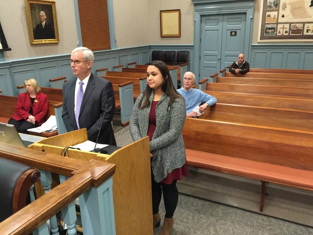 """THE NORTHERN VIRGINIA Regional Commission's Robert Lazaro Jr. and the Local Energy Alliance Program's Angela Hopgood addressed the F.C. City Council Monday  on their """"Solarize Virginia"""" pilot project for Falls Church. The two were introduced by Tim Stevens of the City's Environmental Services Council. (Photo: News-Press)"""