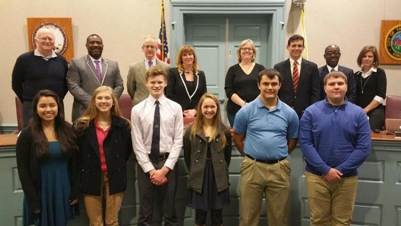 The winners of the inaugural Champions of Character awards with the Falls Church City School Board. (Photo: Courtesy of FCCPS Communications)