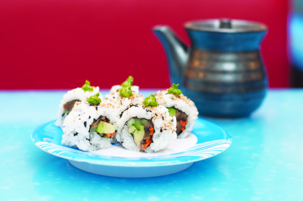 The Senzai Sushi Roll is just one of several unique sushi rolls that can snatched off of the conveyor belt at Wasabi. (Photo: Drew Costley/News-Press)