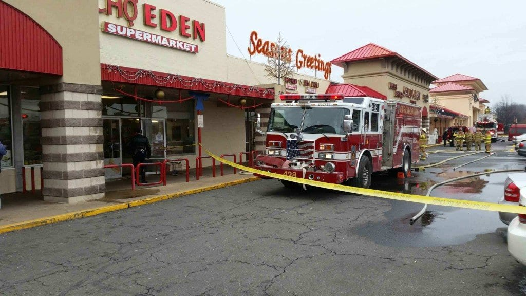 An explosion at Eden Center left three people injured Wednesday. (Photo: Falls Church)
