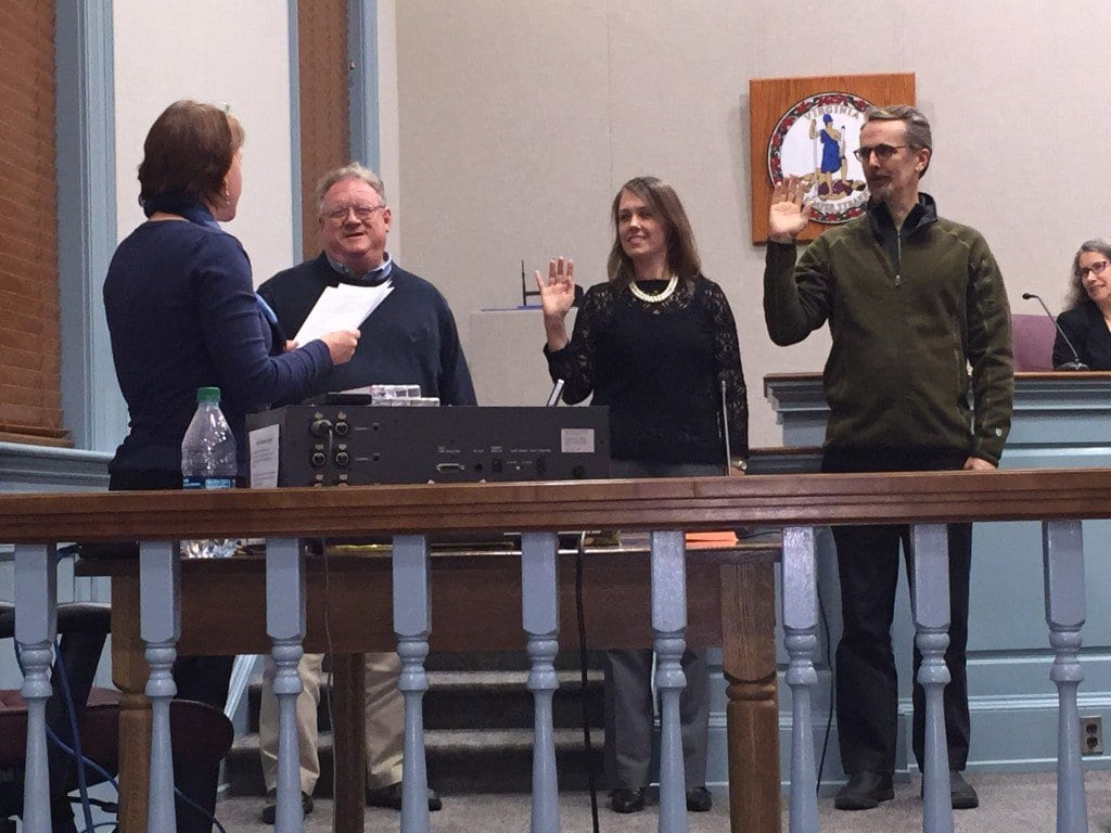 Three new members of Falls Church's Building & Fire Code Appeals Board were sworn in at Monday night's City Council meeting (Photo: News-Press)