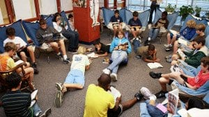 """The """"Comfy Chairs"""" Eskin brought to the library are still considered special spots to read. (Photo: Courtesy of FCCPS)"""