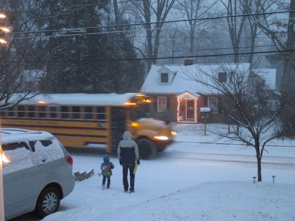 One of the City of Falls Church's first morning pick ups, 7:20 am, Daniel Batchelor going to Jessie Thackrey.  (Photo: Eva Riera Carol)
