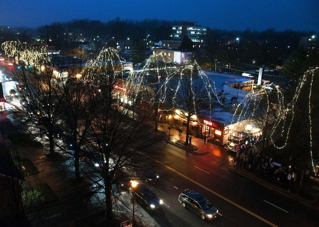 The City of Falls Church decorated the trees of downtown Falls Church for the first time in decades last year. This year the City is going with a different decorative pattern. (Photo: Drew Costley/News-Press)