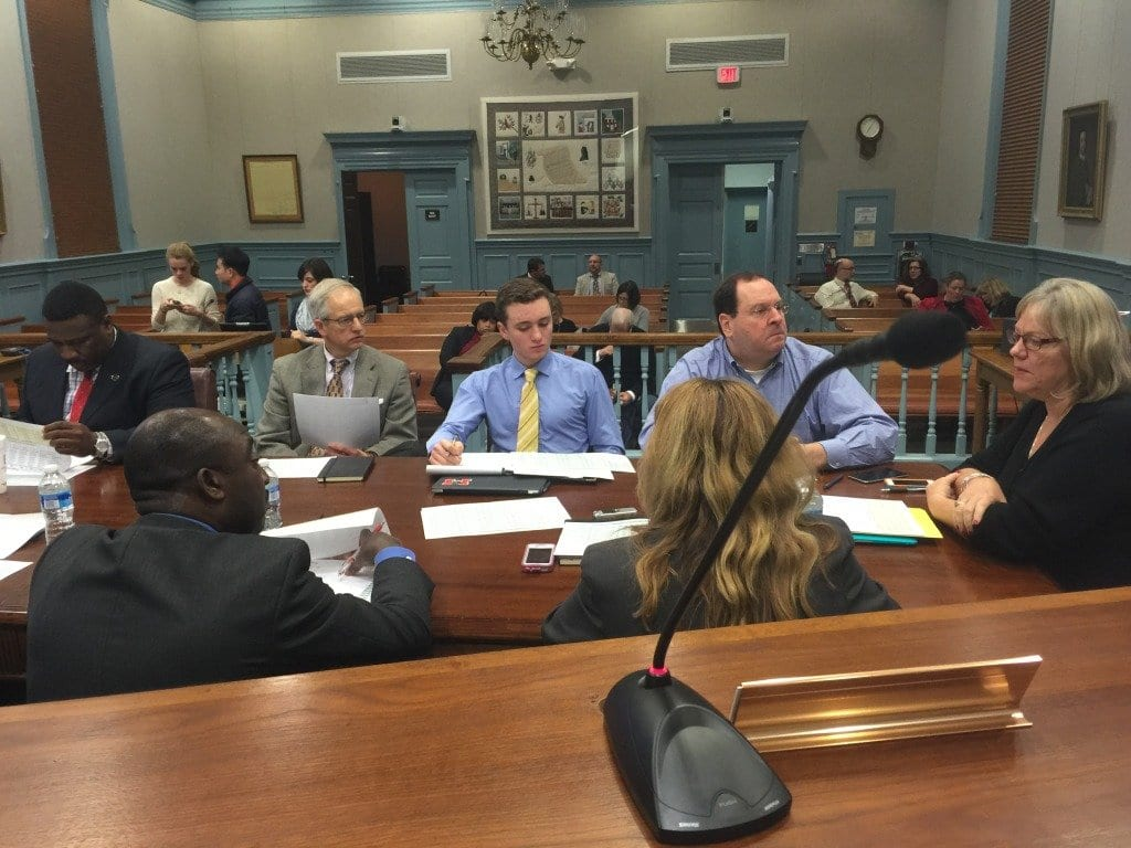 FALLS CHURCH School Board chair Susan Kearney (far right) leads a discussion on budget guidance for the superintendent at Tuesday's work session. (Photo: News-Press)