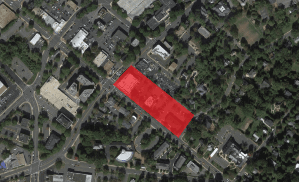 RIGHT AT THE INTERSECTION of N. Washington and E. Broad is where HITT Properties has told the Falls Church City Council it would like to add a 75,000 square foot Whole Foods Market. (Photo: Google Maps)