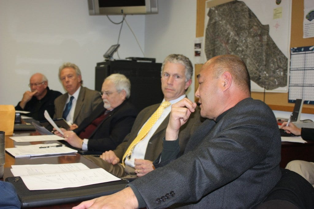 FALLS CHURCH City Manager Wyatt Shields (second from right) laid out the latest proposal from the Spectrum Group to a meeting of the EconoDevelopment Committee of the F.C.City Council Monday Night. (Photo: News Press)