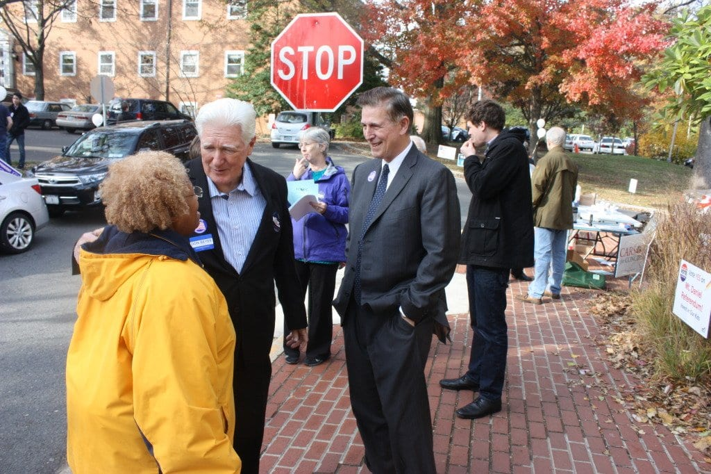 AT THE COMMUNITY CENTER voting precinct, Rep. Jim Moran and Hon. Don Beyer, running to fill the seat being vacated by Moran's retirement chat with Nikki Henderson, a local civil rights activist, (Photo: News-Press)