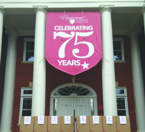 Donations for The Congressional Schools of Virginia's service day sit outside of the 75 year-old school. (Courtesy Photo)