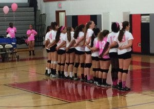 George Mason High School alumna Sally Karstens started the Dig Pink event at Mason last season and her former teammates decided to carry on the tradition she started. (Photo: Hermela Haliemariam)
