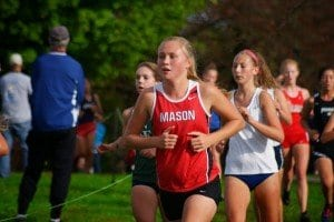Mason freshman Linnea Skotte was one of several Mustang runners to achieve personal or season's best times at the Octoberfest Invitational last Saturday. (Photo: Carol Sly)
