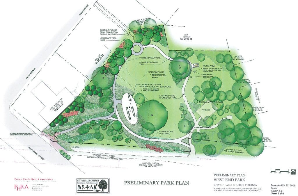 AN ILLUSTRATION showing the preliminary plan for the renovation of F.C.'s West End Park, expected to be completed in spring of 2015. (City of Falls Church illustration)