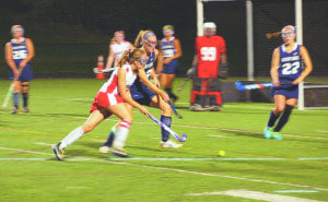 Mason's aggressive offense mounts an attack on the Flint Hill School's defense during their 2-0 win over Flint Hill on Monday. (Photo: Justin Wills)