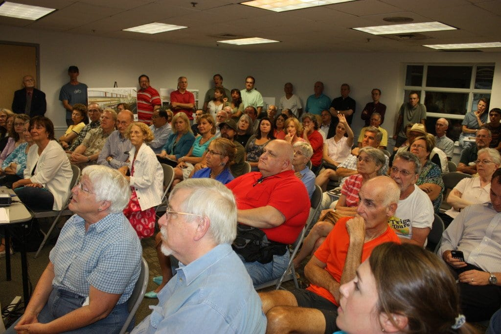 """IT WAS A PACKED MEETING ROOM at the Falls Church Community Center tonight to hear the latest plans and to let its opinions about the proposed """"Mason Row"""" project at W. Broad St. and N. West St.. (Photo: News-Press)"""