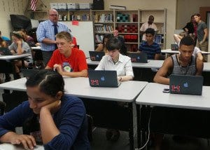 Students at George Mason High School receive a tutorial on how to use their school-provided laptops during the one of the daily training sessions that FCCPS are holding throughout the month of August to educate students and parents on how to appropriately use the laptops. FCCPS is providing laptops to every student at George Mason as part of the school system's personalized learning initiative, which starts this school year. (Photo: Courtesy of FCCPS)