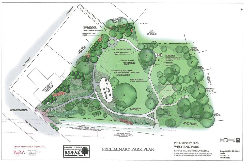 a rendering of plans submitted by Danny Schlitt of the City's Department of Recreation and Parks, the subject of extensive work by the CIty's volunteer Parks and Rec Advisory Board, for the expanded West End Park, subject to final OK by the Council. At present it includes a skate park feature, which some feel is no longer relevant due to the decline in popularity of the sport. (Illustration: City of F.C.)