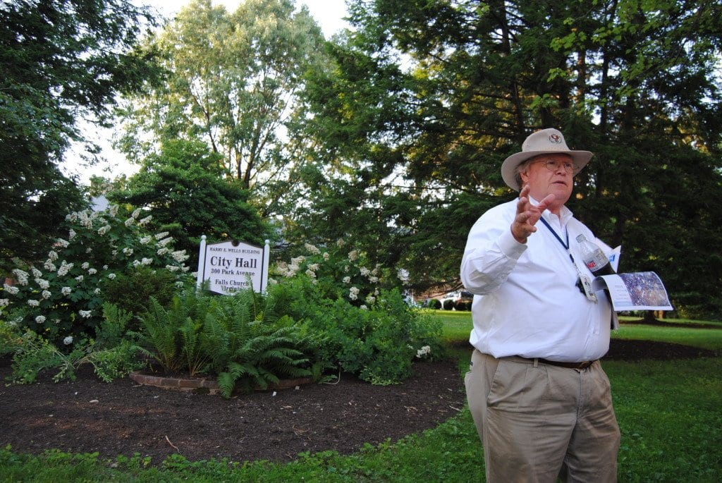 City of Falls Church Planning Director James Snyder leads a walking tour last Wednesday, stepping off from City Council's work session at City Hall, around the areas mentioned in the Downtown Falls Church Small Area Plan. City Council approved that plan on Monday night. (Photo: News-Press)
