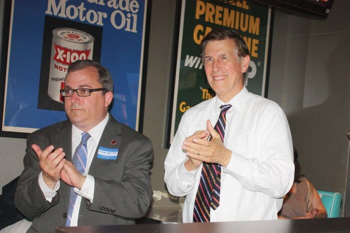 AT A DEMOCRATIC UNITY rally Tuesday, Don Beyer (right), who won the 8th District Democratic primary, and one of his challengers, State Sen. Adam Ebbin (left), shared the party's goal to elect Beyer in November and to re-elect U.S. Sen. Mark Warner. (Photo: News-Press)