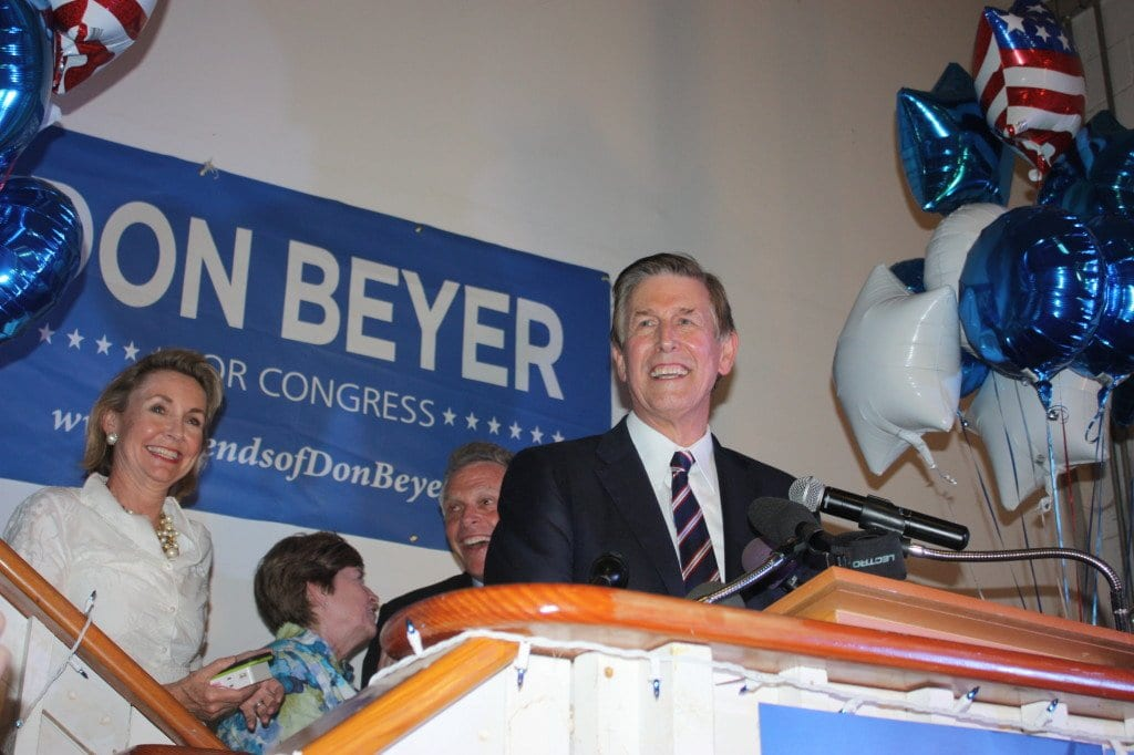 AT HIS VICTORY PARTY in Alexandria tonight, Don Beyer exudes euphoria in his remarks, as did (behind him) Gov. Terry McAuliffe and Don's wife, Megan (left) and former State Sen. Mary Margaret Whipple. (Photo: News-Press)