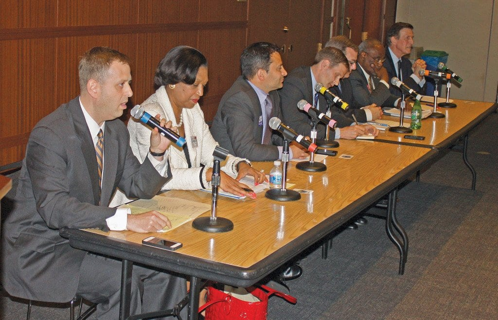 THE SEVEN CANDIDATES still in the race for the Democratic nomination in Tuesday's primary election appeared together one last time in North Arlington last Friday night. They are (left to right) State Del. Patrick Hope, Lavern Chatman, Mark Levine, Derek Hyra, State Sen. Adam Ebbin, Alexandria Mayor Bill Euille and former Virginia Lieutenant Governor Don Beyer. Polls will be open at all three of Falls Church's election precincts from 6 a.m. – 7 p.m. Tuesday . (Photo: News-Press)