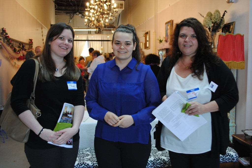 Allyson Della Queva (center), with her mother, Esther Della Queva (right), and Sarah Snyder, the new membership co-chair of the Falls Church League of Women Voters, at the League's 2014 annual meeting on May 17.