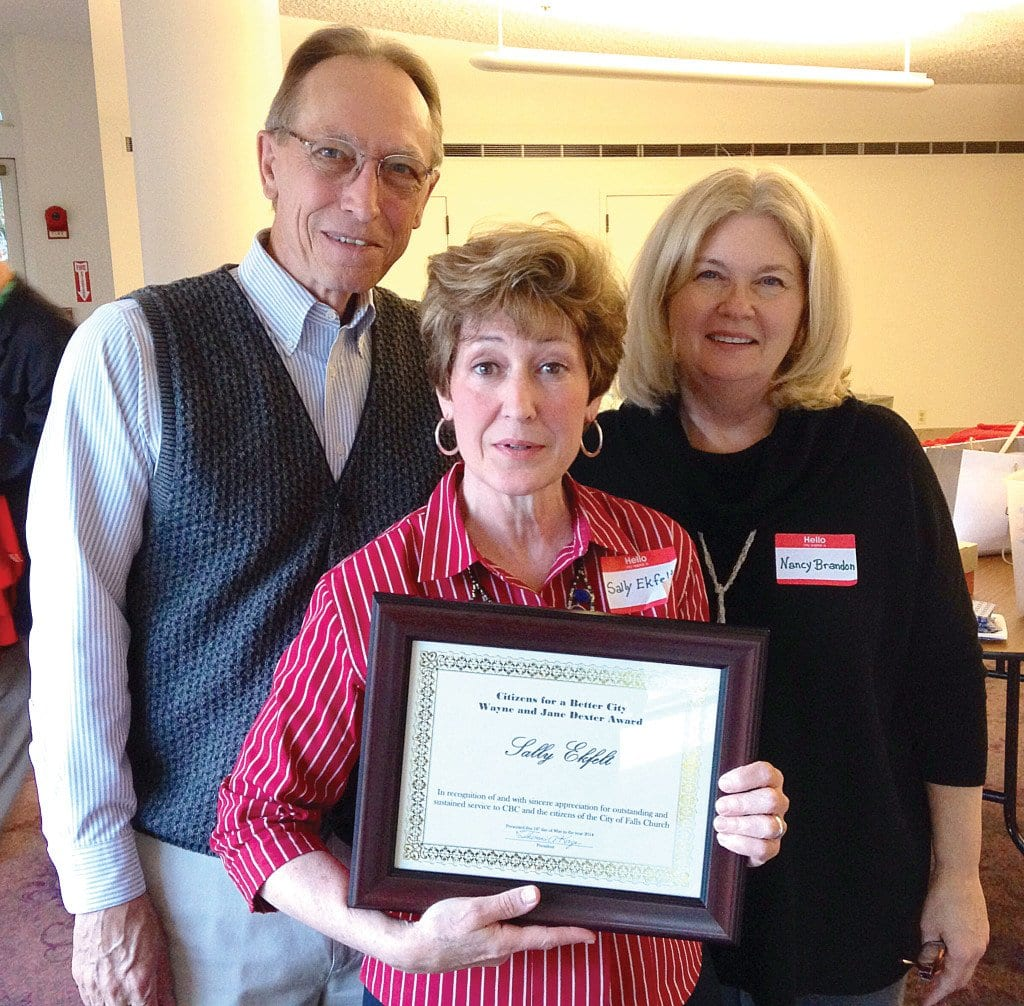 Ekfelt (center) was honored with the Wayne & Jane Dexter Award at the CBC Annual Meeting and Dinner last Sunday.
