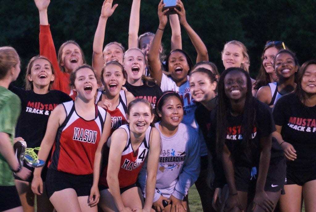A jubilant George Mason girls track team celebrates its first-place finish at the Conference 35 meet on Tuesday.   (Photo: Courtesy Carol Sly)