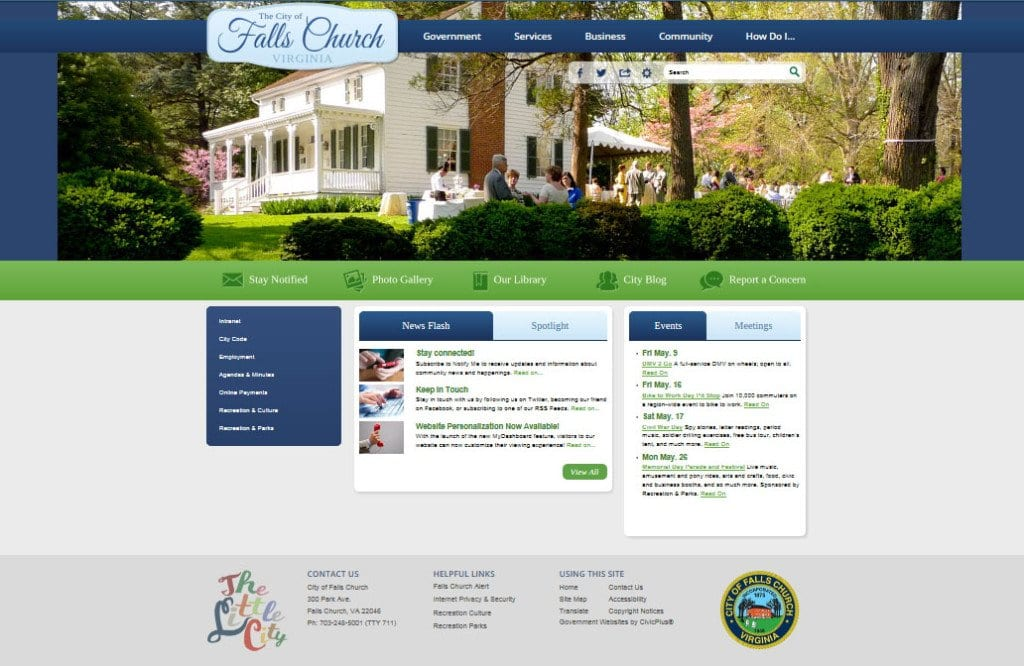 The City of Falls Church will debut its new website this week, pictured above in an early screenshot provided to the News-Press. A screenshot of the City website's previous design, which remained unchanged for seven years, is pictured below.