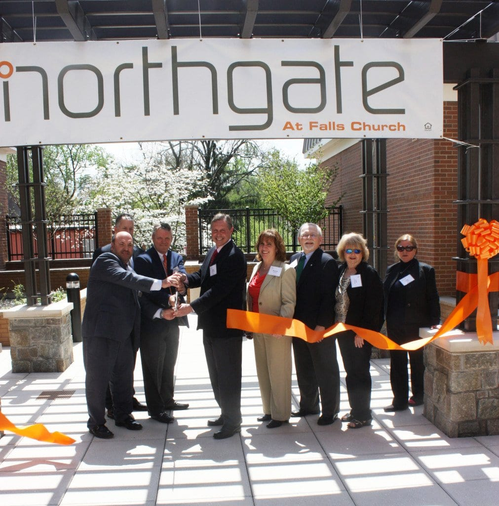 THE RIBBON CUTTING at the Northgate at noon today took place in an internal open space and was led by F.C. Mayor David Tarter (center). (Photo: News-Press)