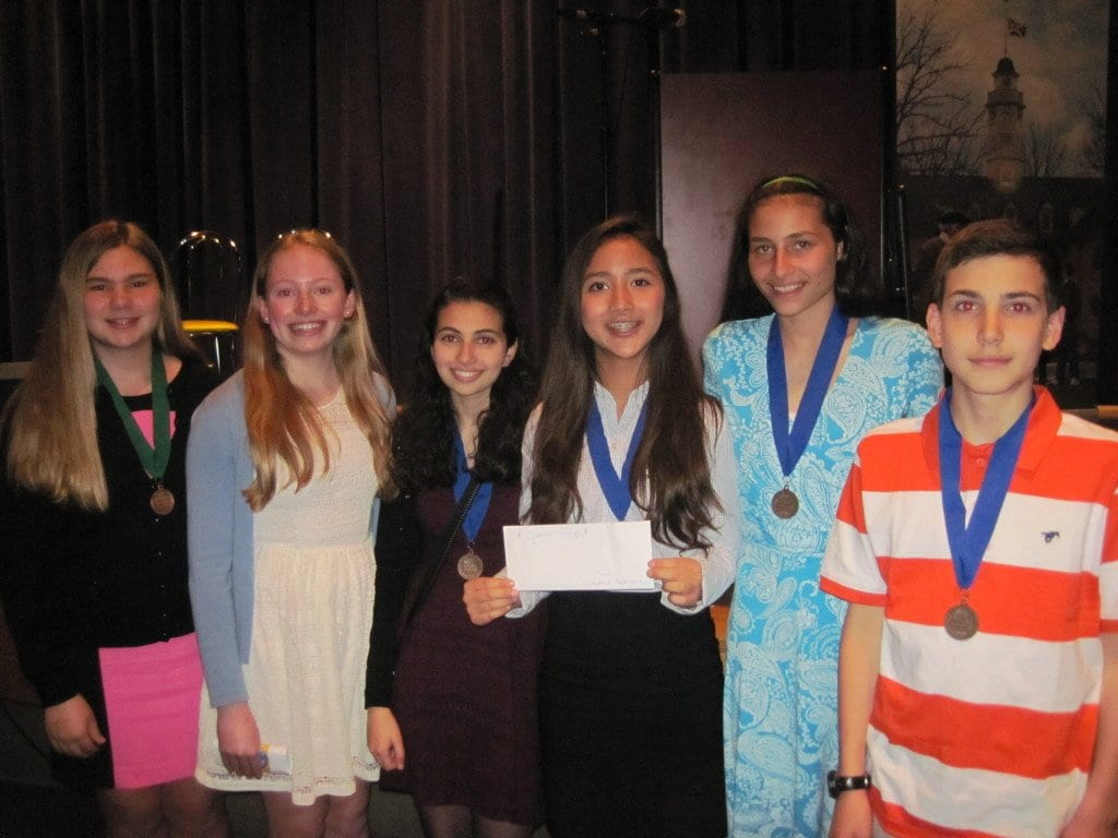 MEH students who earned medals at last Saturday's National History Day competition are, from left to right, Annette Schlitt, Sigrid Edson, Yael Cohen, Cindy Lay, Estelle Timar-Wilcox, and Miles Lankford. (FCCPS Photo)