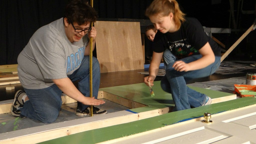 """Tech rehearsal for the Falls Church High School play """"Plaza Suite"""" with Director Phillip Reid and student Jaci Cannon (right)."""