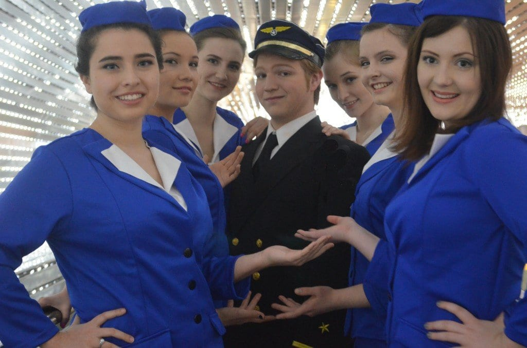 """Frank Abagnale Jr. and the Jet Set (Alex Stone and friends) in MTC's upcoming production of """"Catch Me If You Can."""" (Photo Credit: Isabel Zapata and Monica Matthews)"""