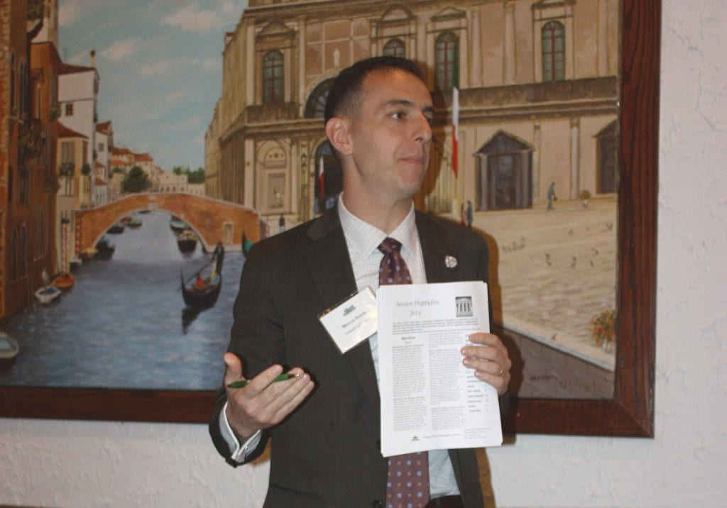 DEL. MARCUS SIMON spoke to the Falls Church Chamber of Commerce at its monthly luncheon Tuesday. (Photo: News-Press)