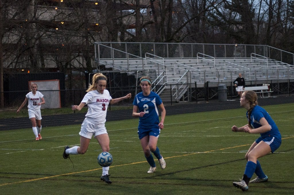 George Mason junior midfielder/forward Ava Roth gets ready to launch a strike against the Central Falcons.  Roth scored 10 goals in the Mustangs' first six games of the season. (Photo: Drew Costley)