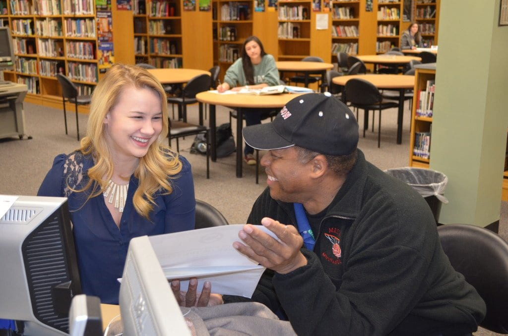 Former George Mason player Stephanie Cheney is pictured above, with coach LaBryan Thomas, at an event last March honoring her decorated high school basketball career. (FCCPS Photo)
