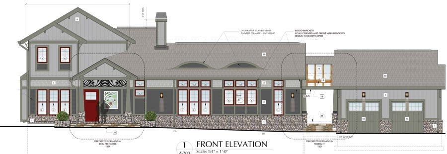 PLANS DETAILING THE FRONT ELEVATION of developer Bob Young's home to be in the City of Falls Church. (Image Courtesy Bob Young)