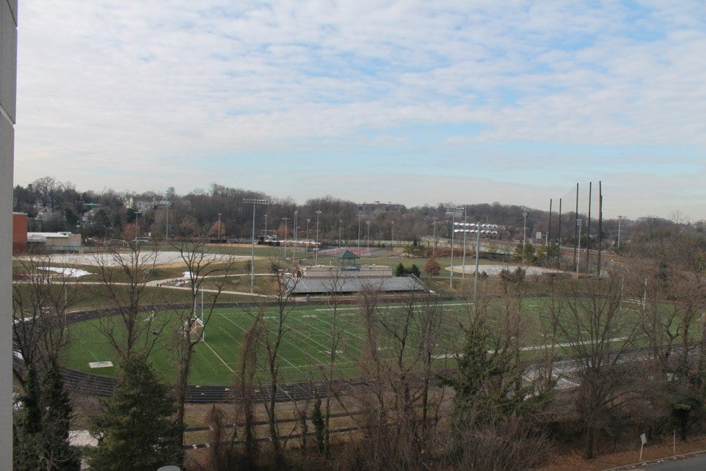 George Mason High School's outdoor athletic facilities are pictured above. The Mason Athletic Boosters, who recently raised funds for lights on the school's baseball and softball fields, seek to pay back loans taken for the project by sponsorship funding – including offering the naming rights on the school's stadium. (Courtesy Photo)