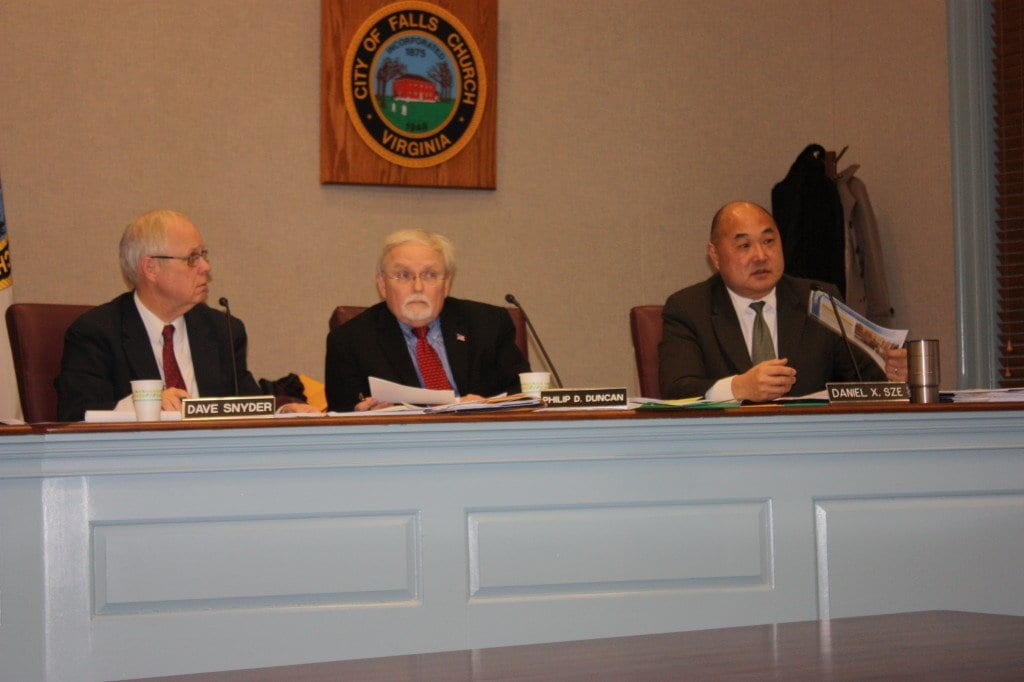 """FALLS CHURCH CITY Councilman Dan Sze (right) expressed """"extreme disappointment"""" that the Council was unable to approval on 'first reading' the Kensington Assisted Living project tonight, as planned. Also unhappy were Vice Mayor David Snyder (left) and Phil Duncan (center). (Photo: News-Press)"""