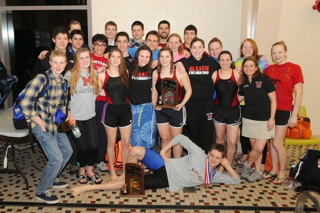 Swimmers from the George Mason High School boys and girls teams are pictured above with their trophies at last week's state meet. The boys placed first in Group 2A and the girls placed second. (Photo: Brad Mills)
