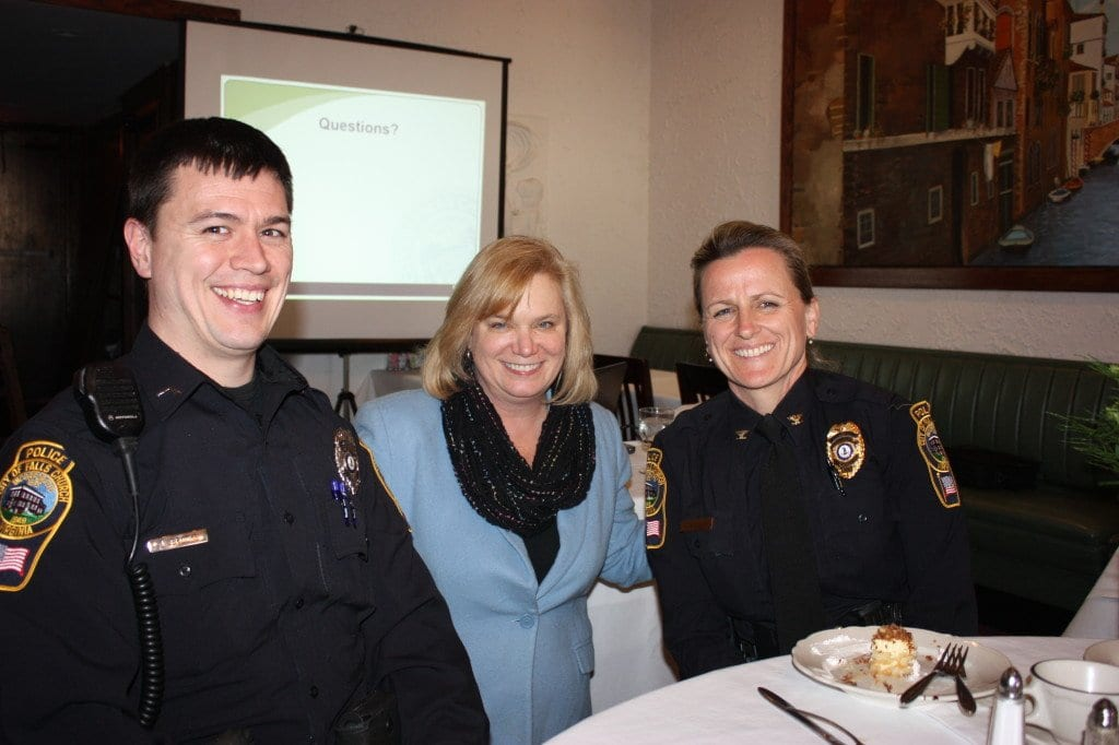 Falls Church Police's community services officer James Brooks (left) with F.C. Chamber of Commerce's Sally Cole and Police Chief Mary Gavin. (Photo: News-Press)