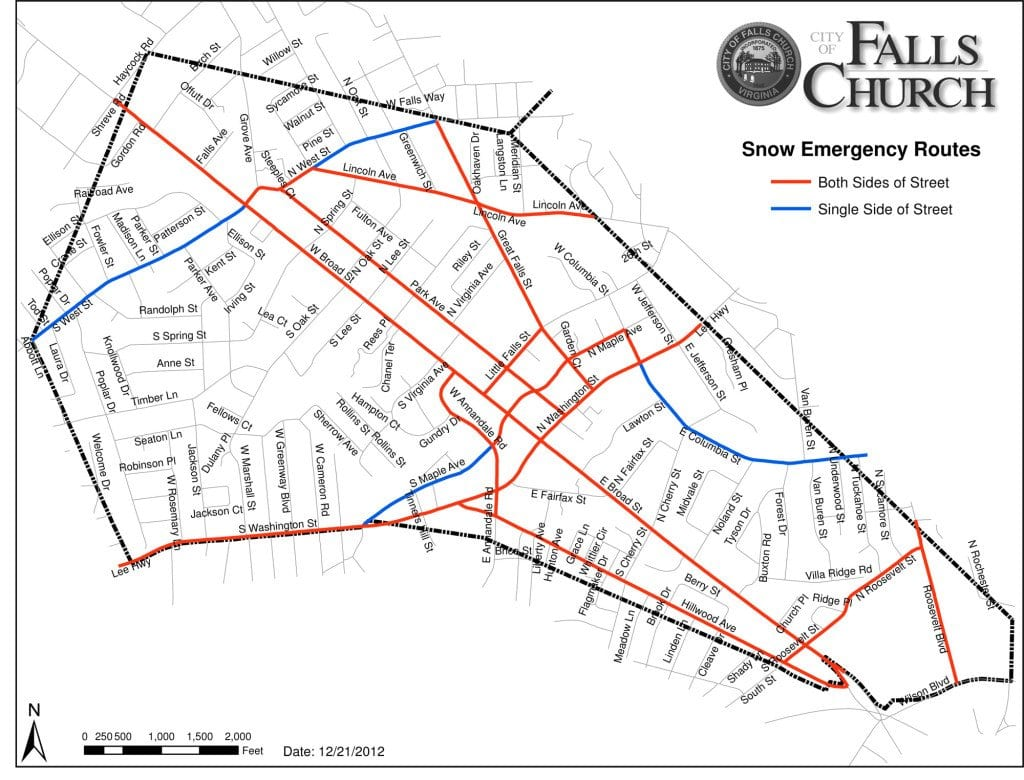 A map of Snow Emergency Routes in the City of Falls Church.